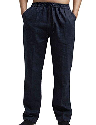Insun Homme Pantalon en Lin de Loisirs Respirant avec Poches Taille Elastique Cordon de Serrage Bleu Marin 40