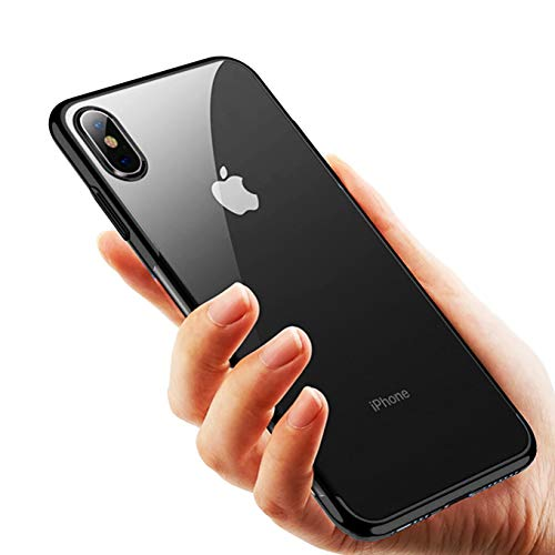 Compatible with iPhone Xs & iPhone X 5.8 inch, Crystal Clear Transparent Electroplated Frame Slim Fit Protective Soft TPU Shock-Absorbing Bumper Shockproof Accessories Anti-Fingerprint Case- Black