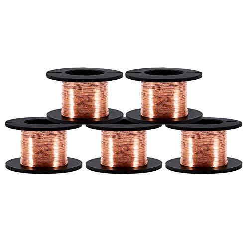 5 piezas alambre de cobre de 0.1mm, Bobina esmaltada Alambre magneto Alambre 0.1mm Longitud 15m