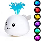 HLXY Baby Bath Toy, Water Spraying Whale Squirt Toy LED Light Up Bath Toys Bathtub Shower Pool Bathroom Toy for Baby Toddler Infant Kid Water Electronic Induction Sprinkler