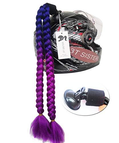 3T-SISTER ヘルメットピッグテールグラデーションランプヘルメット カーリーポニーテールヘルメットヘア モーターバイク用吸盤付き 1個