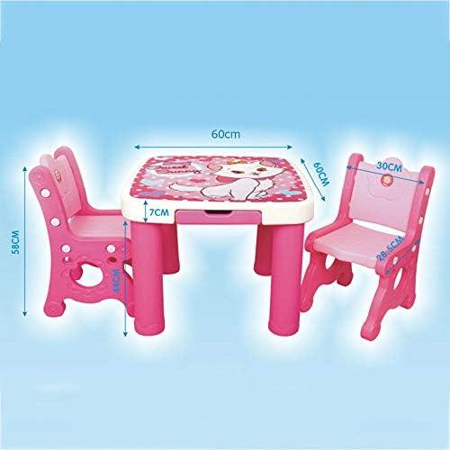[1 Tisch Und 2 StüHle] Tisch- Und Stuhlset FüR Kinder - Schreibtisch Esstisch Aus Kunststoff, Hocker FüR Die RüCkenlehne - Rosa