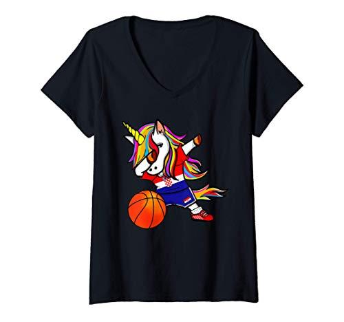 Damen Dabbing Unicorn Kroatien Basketball - Kroatische Flagge T-Shirt mit V-Ausschnitt
