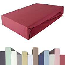 Edda Lux Sábana bajera ajustable | 140 x 200, 160 x 200, 160 x 220 cm | para cama de muelles y colchones de hasta 40 cm de alto, calidad prémium, algodón m. 5% elastano, | color: Granada
