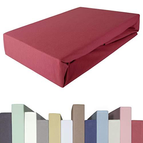 Sábana bajera para cama de muelles y colchones de hasta 40 cm de alto, calidad prémium, algodón con 5% elastano, 190 g/m², 90 x 200, 100 x 200, 100 x 220 cm, sábana bajera ajustable