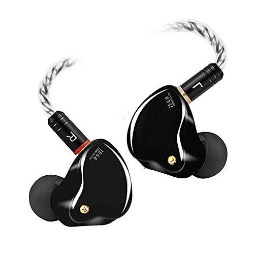 In-Ear-Monitore, kabelgebundene Ohrhörer mit Tesla-Technologie, MMCX abnehmbare Kabel, geräuschisolierende In-Ear-Kopfhörer für Singer Musiker, Drummer HiFi Stereo IEM Kopfhörer (schwarz, ohne Mik)