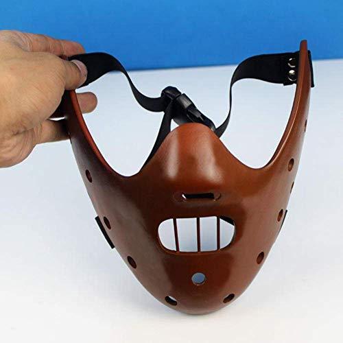 ADHE Gesichtsmaske Das Schweigen der Lämmer Hannibal Lecter Harz Masken Maskerade Cosplay Tanzparty Requisiten Halbe (Brown)