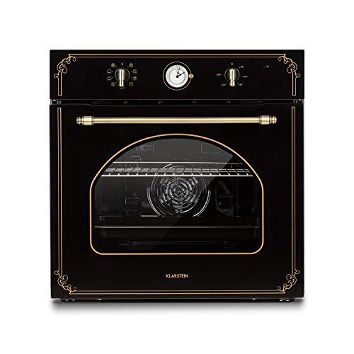 Klarstein Victoria Einbaubackofen - Elektrobackofen, Retro-Ofen, 9 Funktionen, Timer, 50-250 °C, 70 Liter, 10 Einschübe, aushängbare Ofentür für einfache Reinigung, Beleuchtung, schwarz