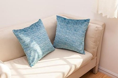 Best Token 2pcs Chenille Decorative Pillow Cover Pillow Cases for Sofa Bed Couch Without Insert (Turquoise Blue)
