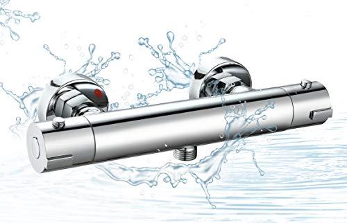 Elbe®Miscelatore termostatico per doccia in ottone, cromato, resistente alla corrosione, con pulsante di sicurezza a 38℃