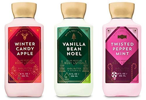 Bath and Body Works Holiday Traditions Christmas Lotion Gift Set of 3 Full Size Body Lotions: Vanilla Bean Noel, Winter Candy Apple, and Twisted Peppermint (Large 8 ounce bottles)