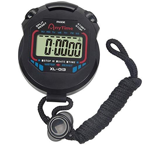 Cronometro digitale Sport Timer, cronografo digitale con sveglia/calendario per nuoto, corsa, calcio, antiurto, per allenatori, arbitro, attrezzatura nera