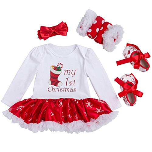 Looching Newborn Baby Girls My First Christmas Romper Tutu Dress Outfit with Headband Shoes, Christmas Sock, 6-12 Months