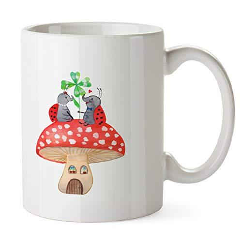 Mr. & Mrs. Panda thee, theekopje, beker Lieveheersbeestje paar paddenstoel - Kleur Wit
