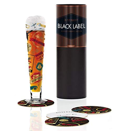 RITZENHOFF Black Label Bierglas von Shinobu Ito, aus Kristallglas, 300 ml, mit fünf Bierdeckeln