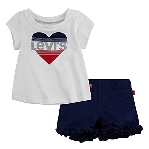 Levi's Baby Girls' Graphic T-Shirt and Shorts 2-Piece Outfit Set, White/Blue, 18M Blue Infant Two Piece