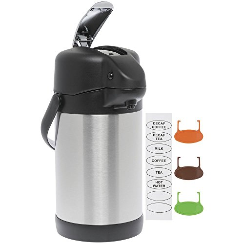 HUBERT Airpot Coffee Server with Lever Pump 3 Liter All Stainless Steel