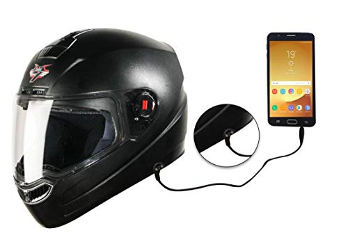 Steelbird SBA-1 7Wings HF Dashing Full Face Helmet with Plain Visor and Detachable Handsfree Device (REGULAR FIT LARGE 600 MM, BLACK)
