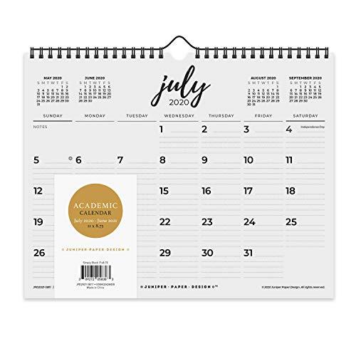 2020-2021 Academic Monthly Wall Calendar Desk Black & White Calendar July 2020 to June 2021, 11 x...