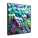Miueapera 16x16 Zoll Tetris Kunst Gerahmte Leinwand Malerei