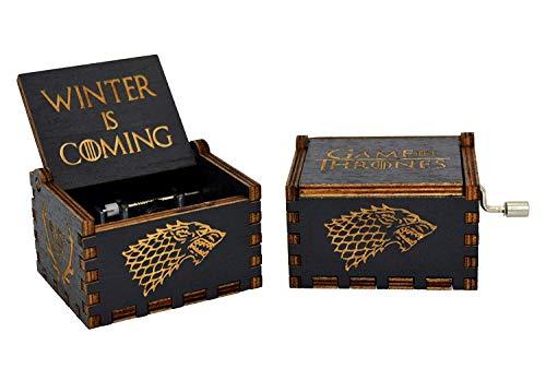 Meiion Premier - Carillon Il trono di spade, scatola artigianale classica incisa in legno, scatola decorativa per regali di Natale, manuale, carillon di Star Wars Game Of Thrones(black)