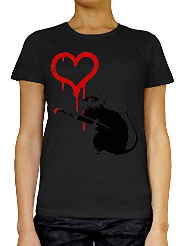 Banksy Rat Schilderij Rood Hart Vrouwen T-Shirt Wit Grijs Zwart