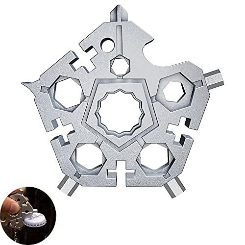 Copo de nieve multi-herramienta, acero inoxidable 23 en 1 Snowflake Handy Tool (Plata)
