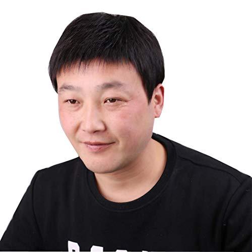 Topjin Homme 'Postiche court sans raccords remplacements de cheveux humains des Perruques Extensions de cheveux Noir naturel