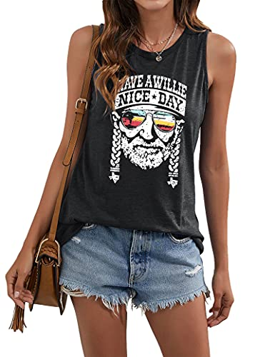 VILOVE Have A Willie Nice Day Tank Tops Womens Vintage Country Music Sleeveless T Shirt Summer Letter Graphic Tee Vest Size Small (Dark Grey)