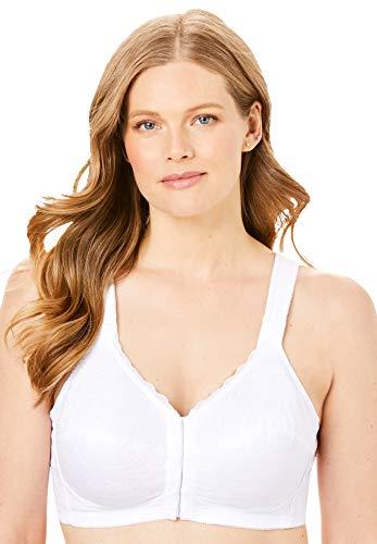 Comfort Choice Women's Plus Size Lace Wireless Posture Bra - 52 DDD, White