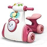 COSTWAY Correpasillos de Juguete para Niños con Música, Sonido y Luz Bicicleta de Equilibrio Carga hasta 15 kg Andador para Bebés de 19 a 36 Meses (Rosa)
