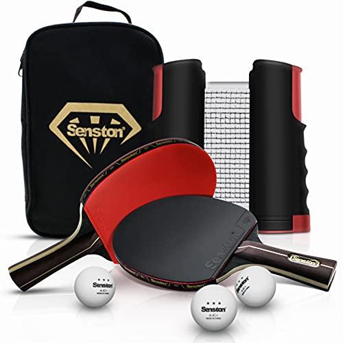 Senston Ping Pong Set Racchette-Rete Retrattile Di Tennis Da Tavolo, 2 Racchetta Da Ping Pong e 3 Palline Da Ping Pong Star, 2 Racchette Ping Pong Kit All'Aperto Al Coperto Giochi