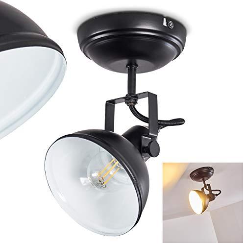 Deckenleuchte Tina, Deckenlampe aus Metall in Schwarz/Weiß, 1-flammig, mit verstellbaren Strahlern, 1 x E14-Fassung, max.40 Watt, Retro/Vintage Design