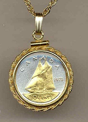 """Canadian """"Bluenose Sail boat"""",Gorgeously 2-Toned (Uniquely Hand done) Gold on Silver coin Necklaces for women men girls girlfriend boys teen girls"""
