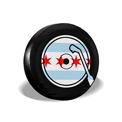 GOSMAO Fundas para Llantas para fanáticos de los Deportes, Disco de Vinilo, Bandera de Chi-CAGO, Cubierta para Llantas de Repuesto para remolques, vehículos recreativos, SUV y Muchos 16 Pulgadas