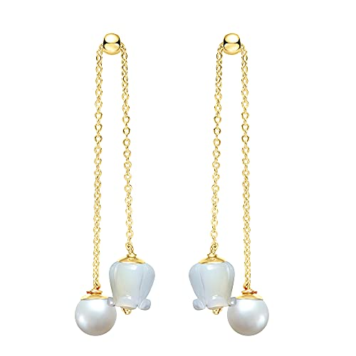 Pearl Dangle Earrings PRINCE GERA Long Tassel Drop 14K Gold Plated Freshwater Pearls Sea Shell Lily of the Valley Flower Earring Gift for Women