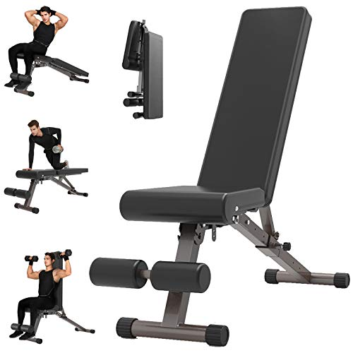 Yinguo Adjustable Weight Bench, Exercise Sit Up Ab Trainer Abdominal Board, Foldable Flat Fly Weight Press Incline Decline Dumbbell Workout Bench for Full Body Home Gym Strength Training Weightlifting