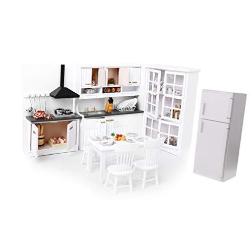 NiceButy Casa De Muñecas Cocina Comedor Blanco Gabinete De Madera Nevera Muebles Uno Y Doce Blanca