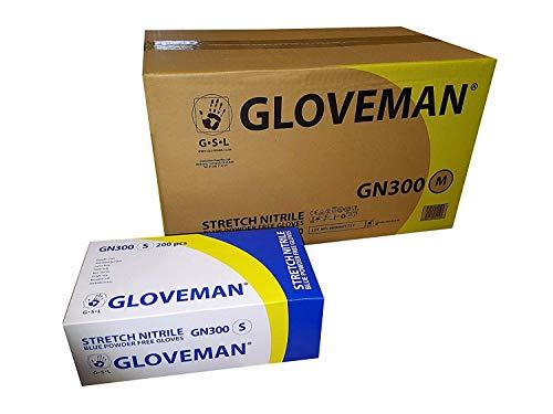 1 funda (2.000 guantes) guantes de nitrilo sin polvo en azul, azul cobalto o blanco, tallas extra pequeñas a extra grandes (pequeño, azul)