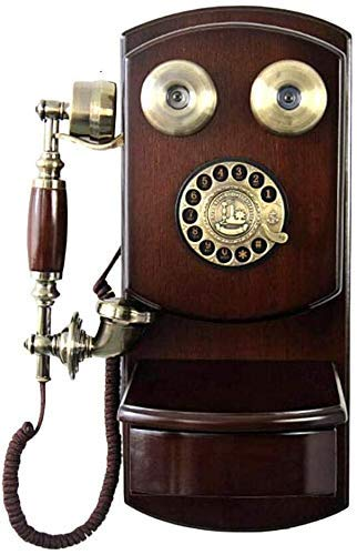 SXRDZ Corded Phones Wall-mounted Vintage Phone/retro Telephone With Wood And Metal Body, Phones Creative European-style Old Rotary Fixed Telephone For Home Hotel