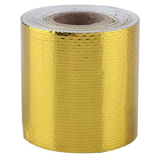 Aluminiumfolie Klebeband, Fydun 5m * 5cm Auto Aluminiumfolie Kleber Reflektierende Hitzeschild Wrap Tape für HLK-Rohrisolierung(Gold 5M * 5Cm)