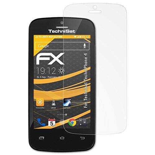 atFolix Panzerfolie kompatibel mit Technisat TechniPhone 4 Schutzfolie, entspiegelnde und stoßdämpfende FX Folie (3X)