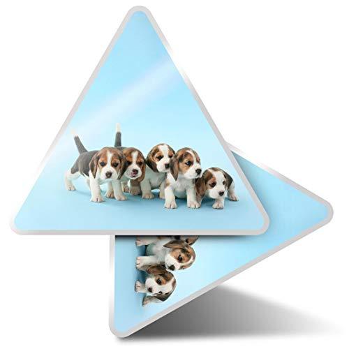 2 pegatinas triangulares de 7,5 cm – Beagle cachorros perros mascotas mascotas pegatinas divertidas para portátiles, tabletas, equipaje, reserva de chatarra, nevera #44239