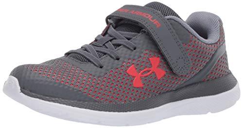 Under Armour Unisex-Youth Pre School Impulse Alternative Closure Sneaker, Pitch Gray (101)/Versa Red, 13K