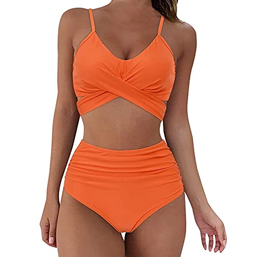 Bikini Damen,Damen Bikini Set Sommer Badeanzug mit Sport Strandkleidung Triangel Bikinihose -Sexy Bademode Strandwear Strandmode -Bikinioberteil High Waist Sportlich Bauch für Mä Dchen Teenager
