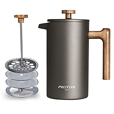POLIVIAR French Press Coffee Maker, 34 Ounce Coffee Press with Teak Wood Handle, Double Wall Insulation & Dual-Filter Screen, Food Grade Stainless Steel for Good Coffe and Tea (Cliff)