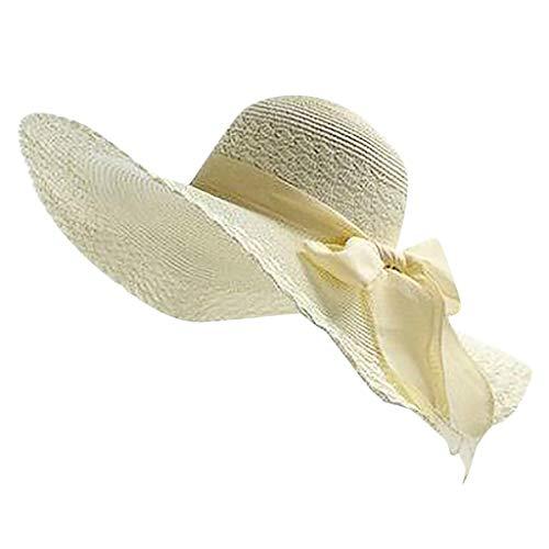 VJGOAL Cappello da Donna, Elegante Tesa Larga Cappello di Paglia,Leggero Cappello da Sole Estate con Visiera Cerimonia Cappellini Festa Compleanno