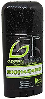 Green Theory Probiotic Natural Deodorant - Biohazard (Men's) | Aluminum-Free, Non-Toxic | Pine, Clary Sage, Vetiver, Orange Essential Oils | Solid 2.65 Ounce Stick