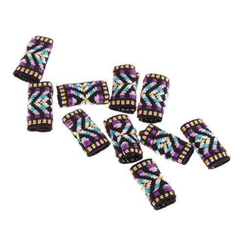 Injoyo 10 Stück Vintage Haar Braid Dread Stoff Dreadlock Rohre Tubes Perlen Schmuck Haare Dekoration Zubehör - 10