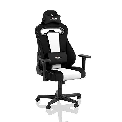 NITRO CONCEPTS E250 Gaming Stuhl - Bürostuhl Ergonomisch Schreibtischstuhl Zocker Stuhl Gaming Sessel Drehstuhl mit Rollen Stoffbezug Belastbarkeit 125 Kilogramm Schwarz/Weiß